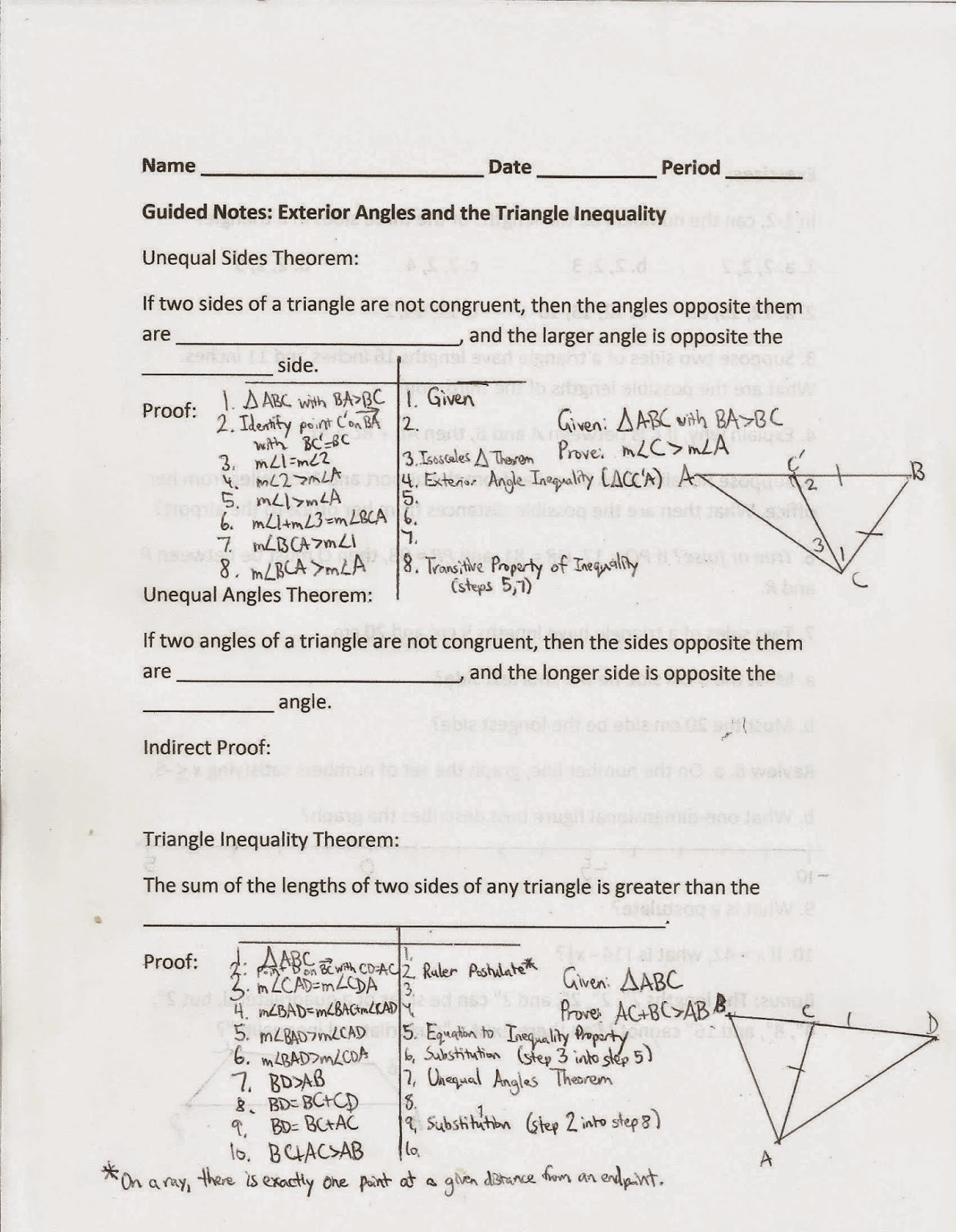 Geometry Common Core Style Section 1 9 The Triangle