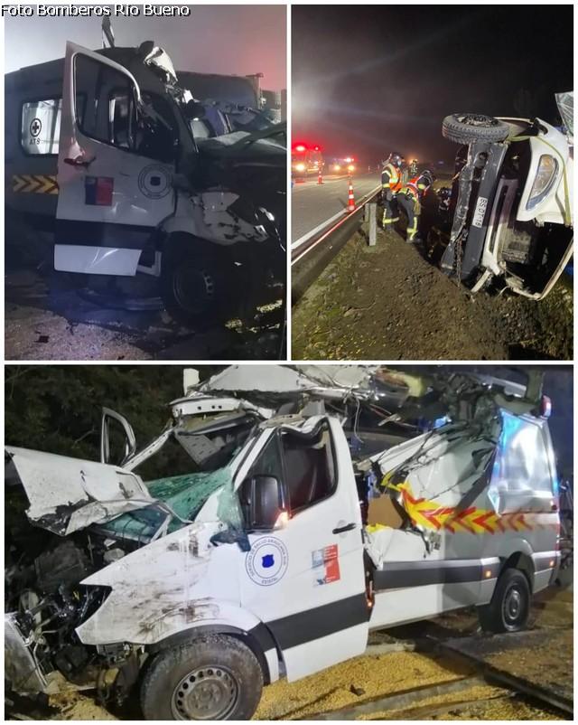 Accidente: Camión colisionó a ambulancia en la Ruta 5 Sur
