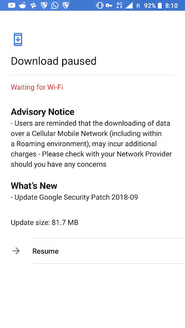 Nokia 6.1 September 2018 Android Security update