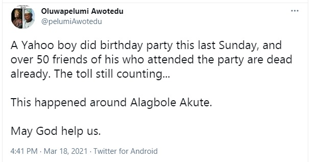 50 People Reportedly Dead After Attending A Yahoo Boy's Birthday In Ogun