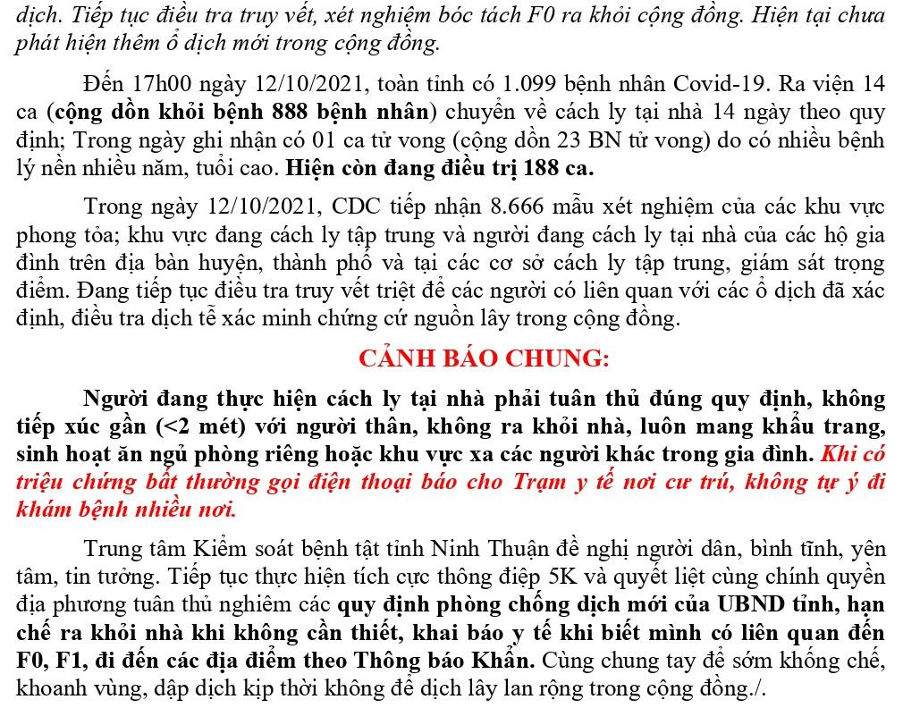Ngày 12-10, Ninh Thuận ghi nhận 8 ca mắc Covid-19 mới
