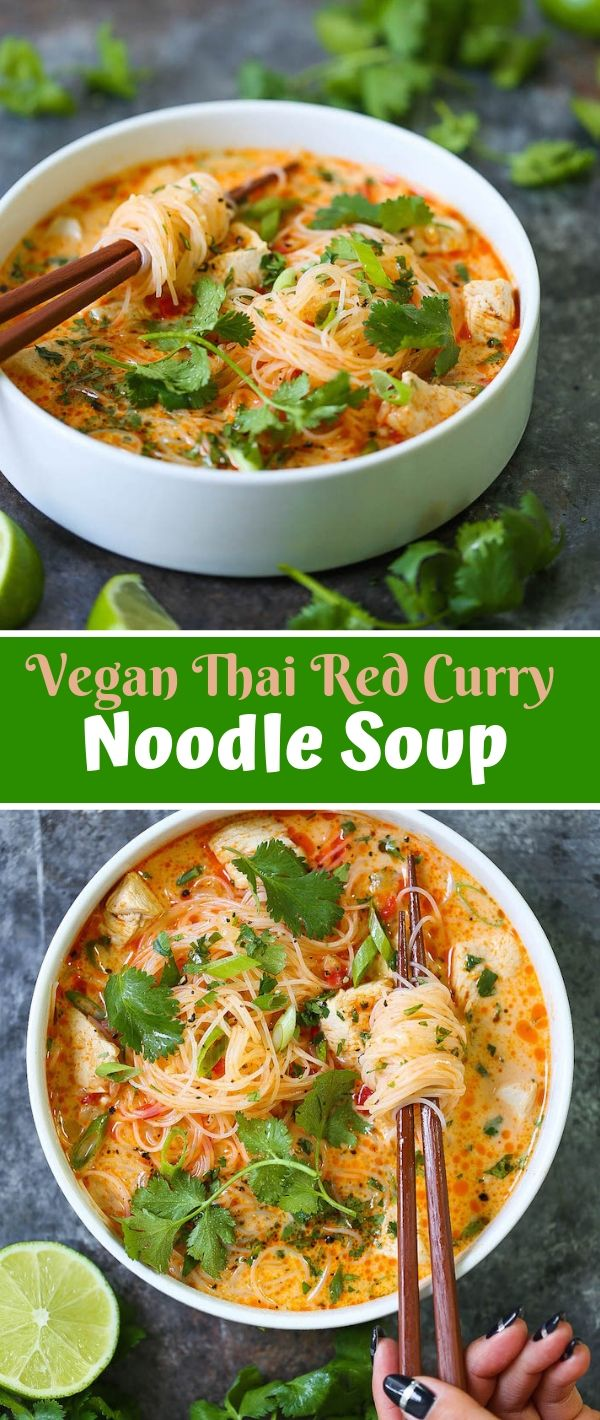 Vegan Thai Red Curry Noodle Soup #Vegan #Thai #Red #Curry #Noodle #Soup Vegan Recipes Easy, Vegan Recipes Healthy, Vegan Recipes Dinner, Vegan Recipes Fall, Vegan Recipes For Weight Loss,