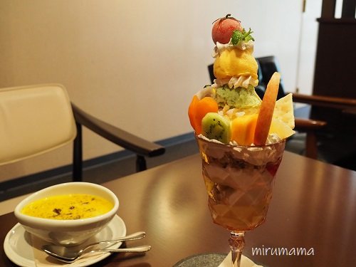 野菜パフェとかぼちゃのおしるこ