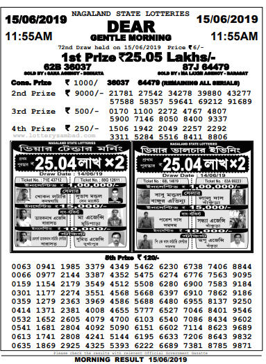 Nagaland state lottery morning result