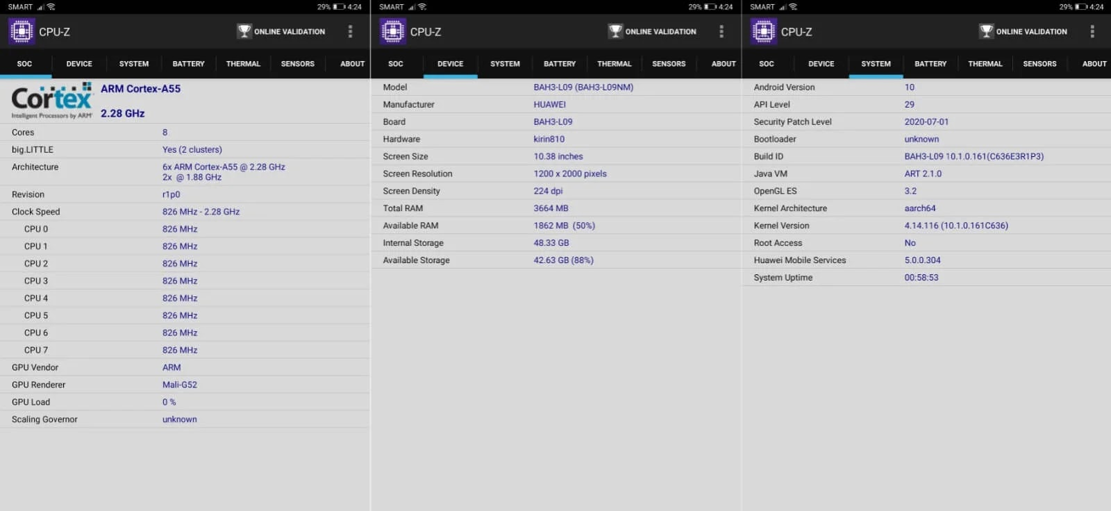 Huawei MatePad CPU-Z Info