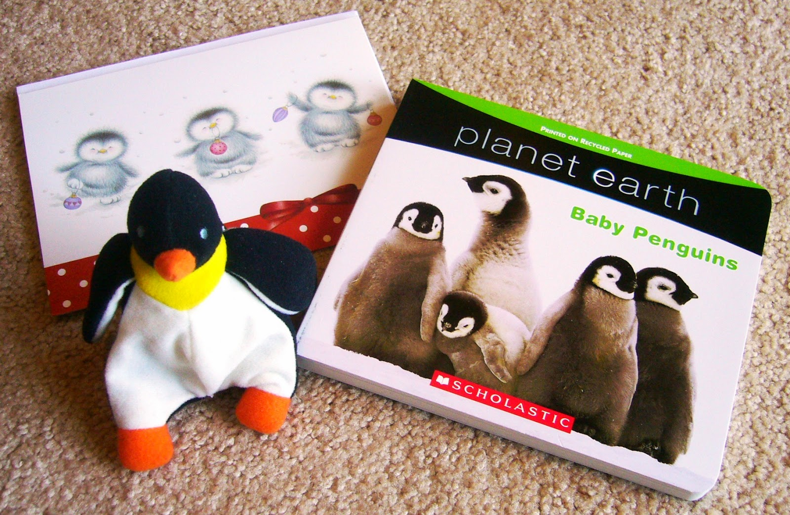 Penguin themed gifts for an Operation Christmas Child Shoebox.