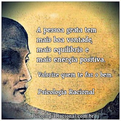 A pessoa grata tem mais boa vontade, mais equilíbrio e mais energia positiva. Valorize quem te faz o bem. Gratidão