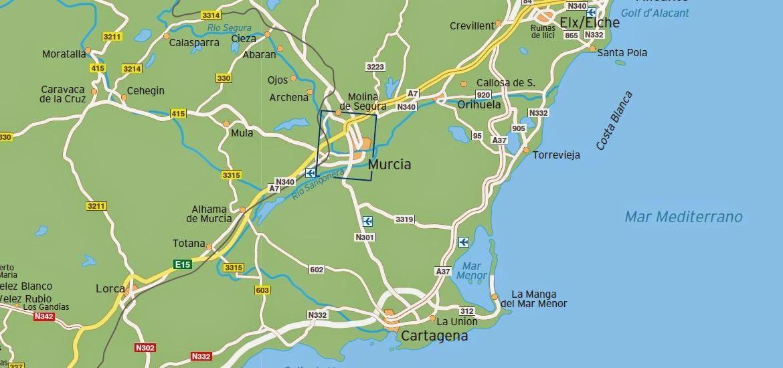 Mapa de la región de Murcia.