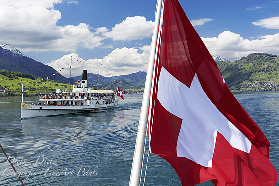 Steamer SCHILLER with Swiss Flag