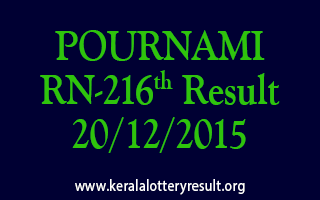 POURNAMI RN 216 Lottery Result 20-12-2015