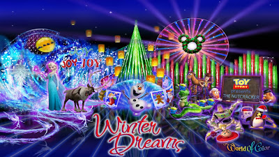 "NEW HOLIDAY 'DREAMS' AT DISNEYLAND RESORT –""World of Color – Winter Dreams,"" an all-new holiday version of the popular ""World of Color"" nighttime spectacular, will begin nightly performances on Paradise Bay in Disney California Adventure Park on Nov. 15, helping to kick off the 2013 holiday season at the Disneyland Resort"