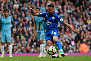 Leicester Citys Riyad Mahrez Scores From The Penalty Spot But It Is Disallowed For Kicking The Ball