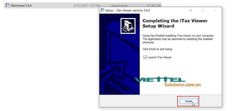 Hình 6 - Hoàn thành cài đặt iTax Viewer 1.6.4