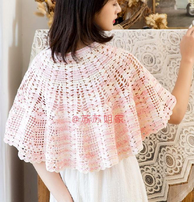 Crochet Cape Pattern for women pink no:28