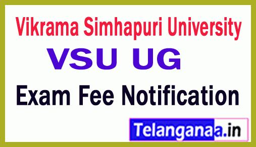 VSU UG 2nd 4th 6th Sem Reg Supply Exam Fee Notification