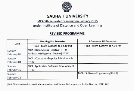 IDOL Guwahati University MCA 5th Sem Examination Schedule