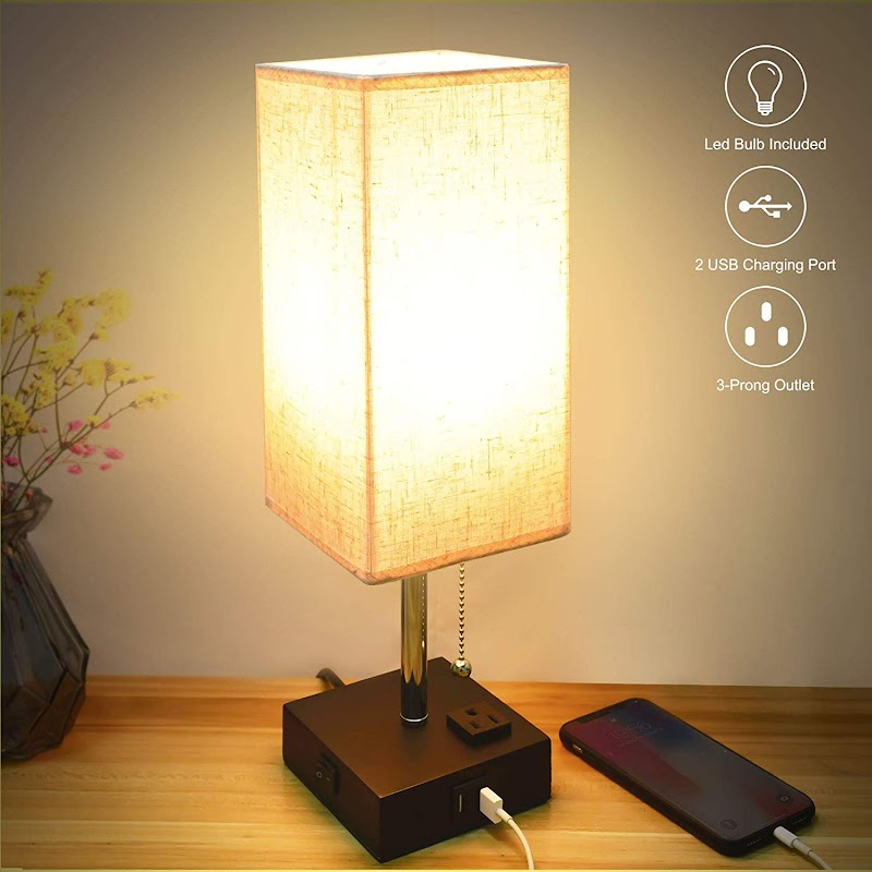 AMAZON - 49% off  Bedside Lamps with Fast Dual USB Charging Ports and Outlet