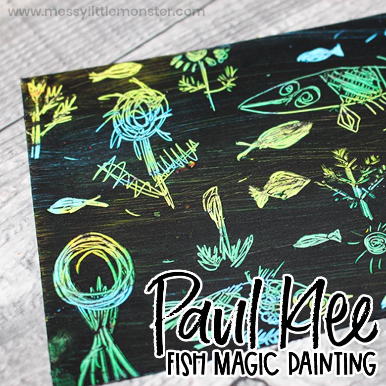 Paul Klee Fish Magic DIY scratch art for kids