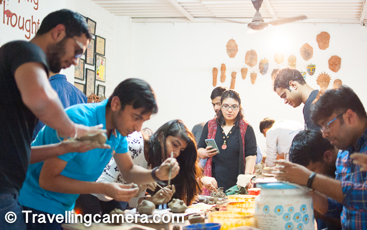 Everybody busy in doing clay pottery and our mentor watching us closely, to ensure that we definitely go out with interesting creation.