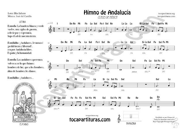 Partitura con Notas y Ficha 2 (en horizontal ) del Himno de Andalucía. Incluye letra, escudo y bandera para colorear y acordes para acompañar con piano o guitarra Andalusian  Hymn Sheet music for treble clef instruments Teachers of music flute violin oboe...