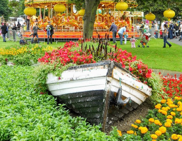 Dalkey to Killiney Hill Walk and More: flower boat at the People's Park in Dun Laoghaire