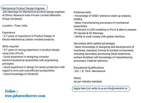 Job Opening For Mechanical Product Design Engineer Apply Here Job News Forever