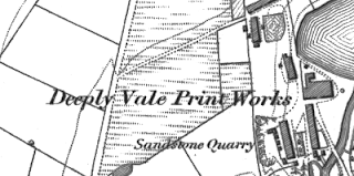Deeply Vale Print Works, OS map, 1848.