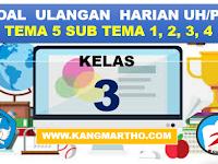 Soal Ulangan Kelas 3 K13 SD Tema 5 Subtema 1,2,3,4