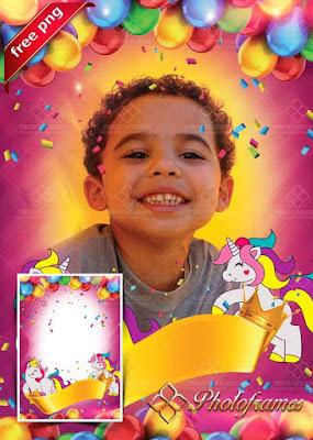 Marco para fotos de cumpleaños en color magenta