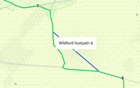 Right of way in blue, permissive path diversion in green Created on Map Hub by Hertfordshire Walker Elements © Thunderforest © OpenStreetMap contributors