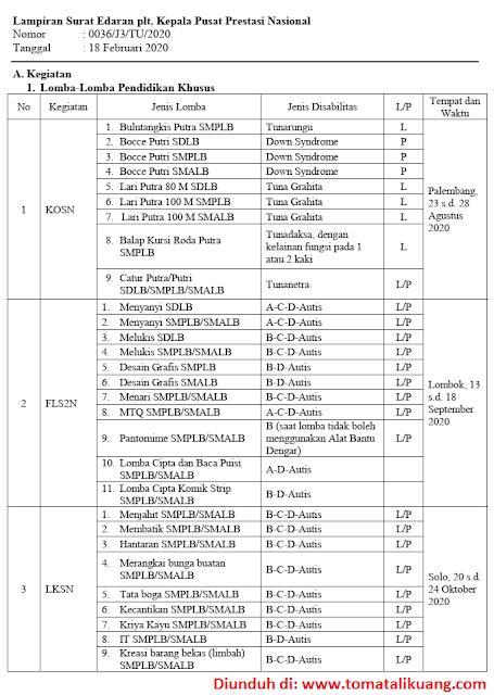 jadwal lomba pendidikan khusus sdlb smplb smalb tahun 2020; www..tomatalikuang.com