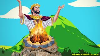 Rei salomao oferecendo holocausto a Deus no monte de Gibeão