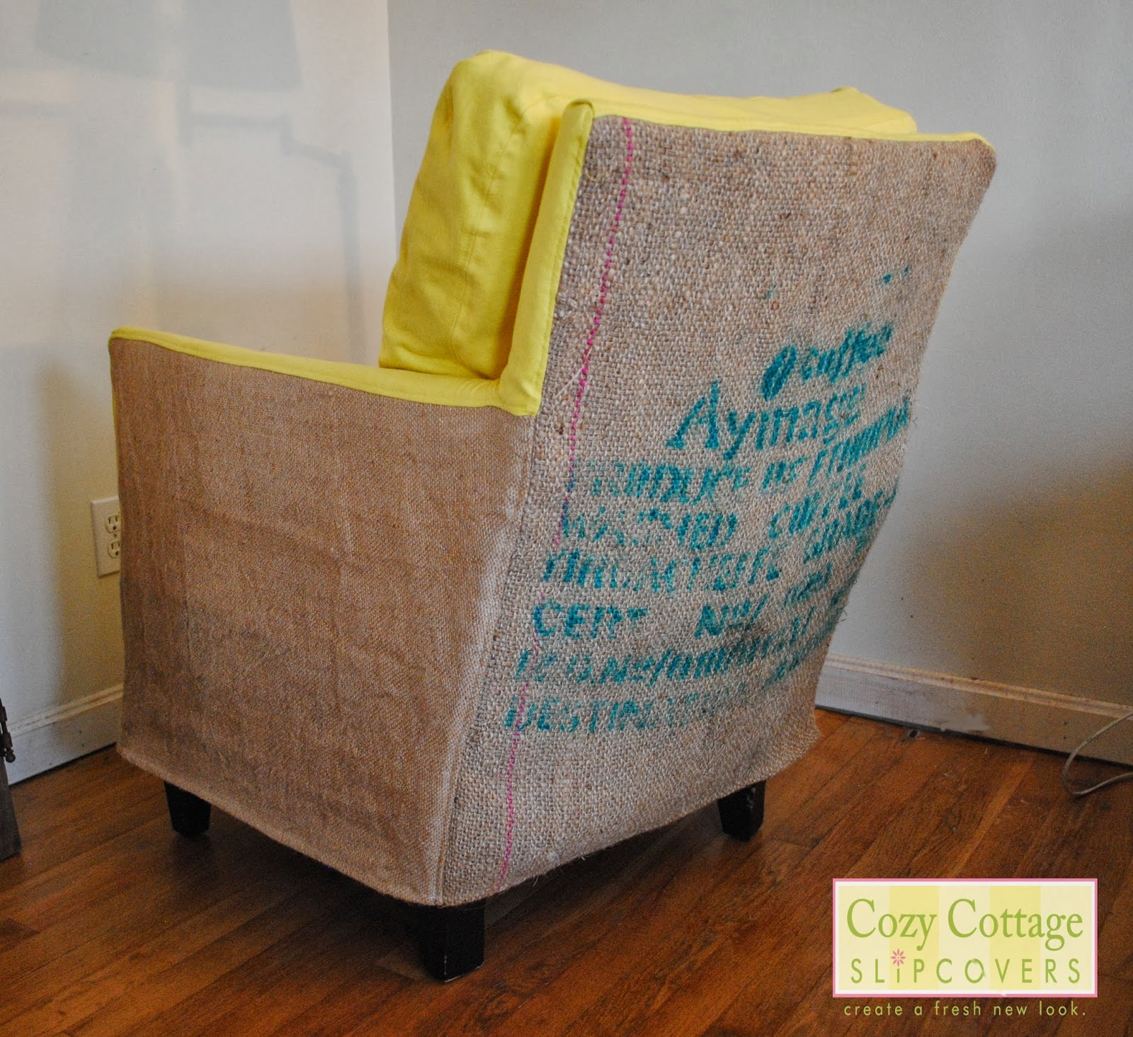 burlap chair covers hammock stand craigslist cozy cottage slipcovers coffee sack slipcover