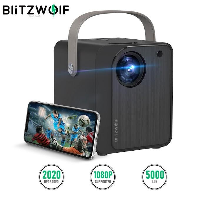 BlitzWolf® BW-VP7 5000 Lux Mini LED Wifi Projector Wireless Screen Mirroring 1080P 170'' Display.