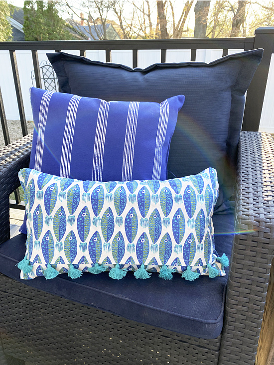 fish pillow in outdoor chair