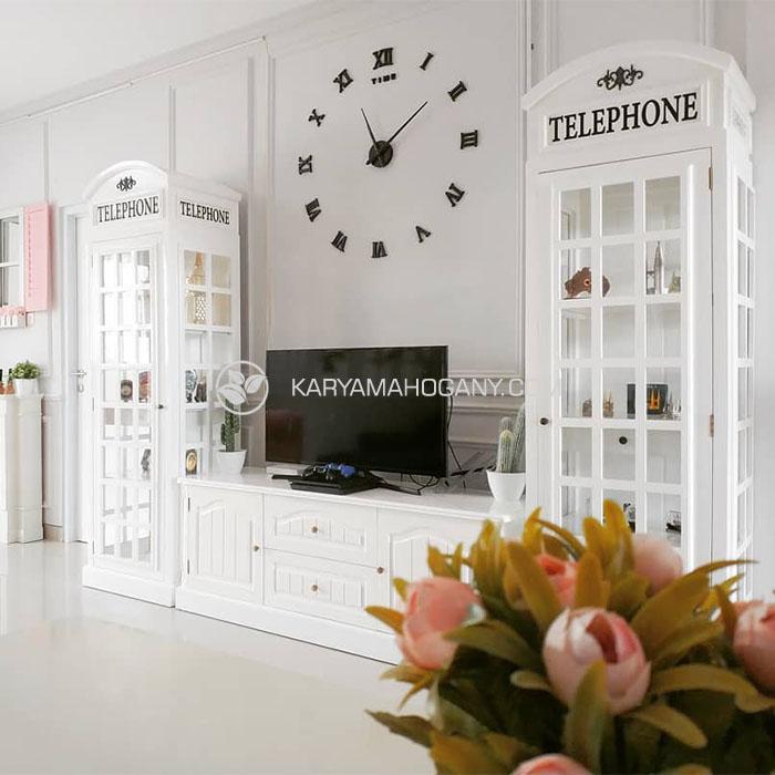 Lemari Telepon Inggris Putih | Dekorasi Ruang Keluarga Minimalis