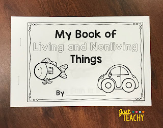Living & Nonliving Emergent Reader, www.JustTeachy.com
