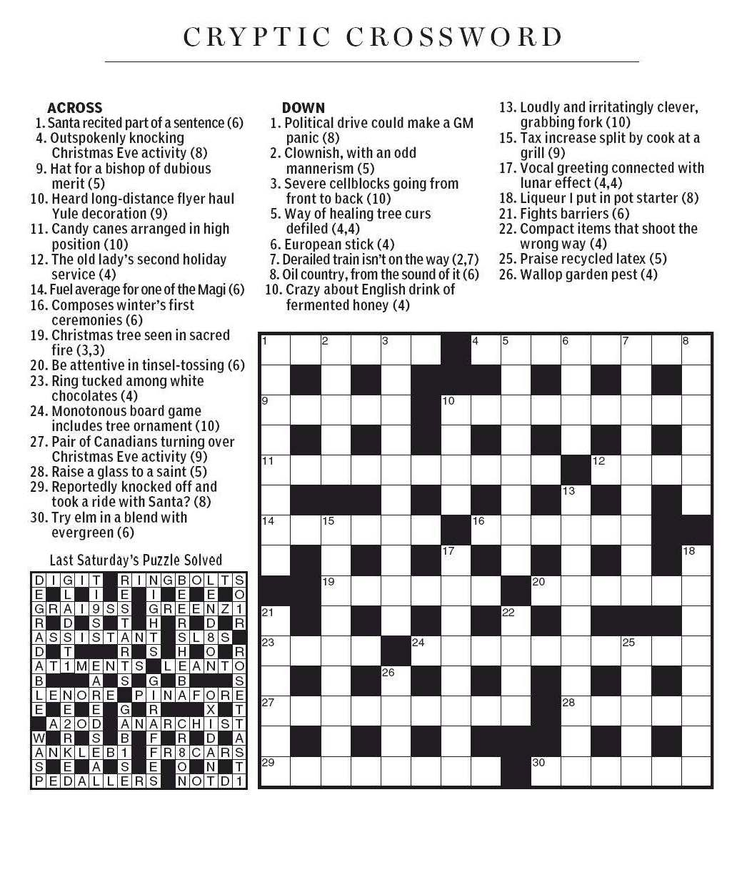 National Post Cryptic Crossword Forum Saturday December 15 2012 Christmas Preparations
