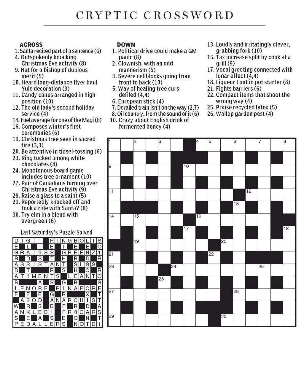 Winter Crossword Puzzles