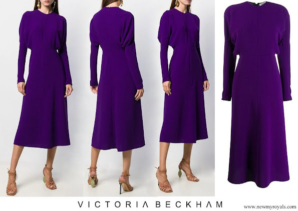 Queen Maxima wore Victoria Beckham puffled sleeves dolman midi-dress
