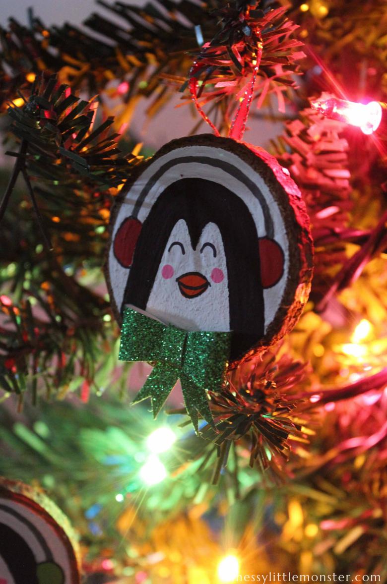 penguin wood slice Christmas ornament craft
