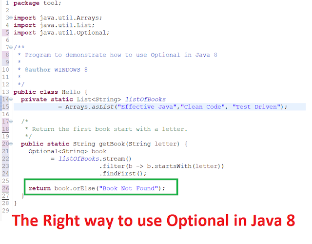 Java 8 Optional Example - isPresent(), OrElse() and get()