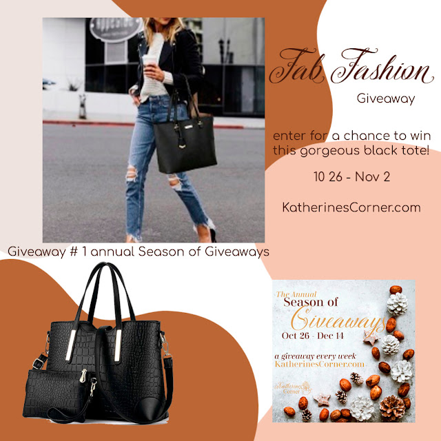 Katherines Corner Season of Giveaways - Share NOW. Fab Fashion Tote. #giveaway #eclecticredbarn #katherinescorner