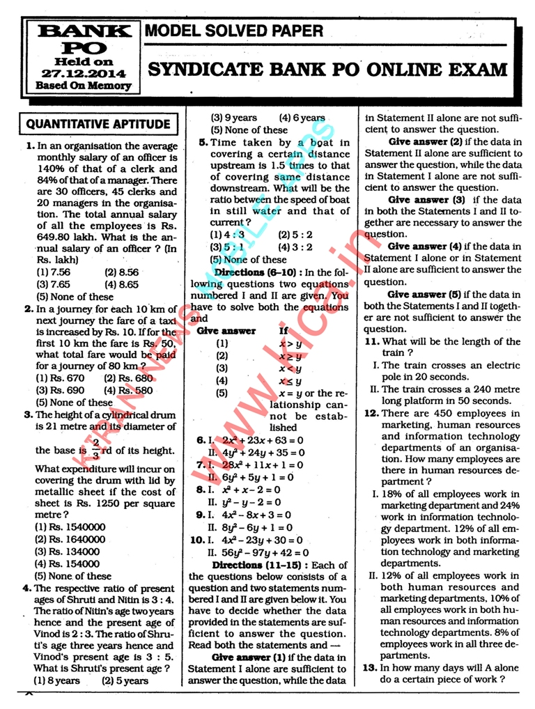 Ibps Po 2014 Solved Question Papers Pdf