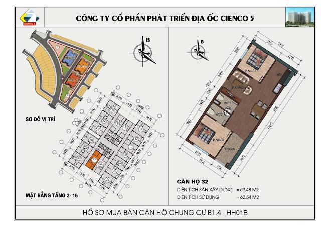 Sơ đồ căn hộ chung cư B1.4 căn 32 tòa HH01B