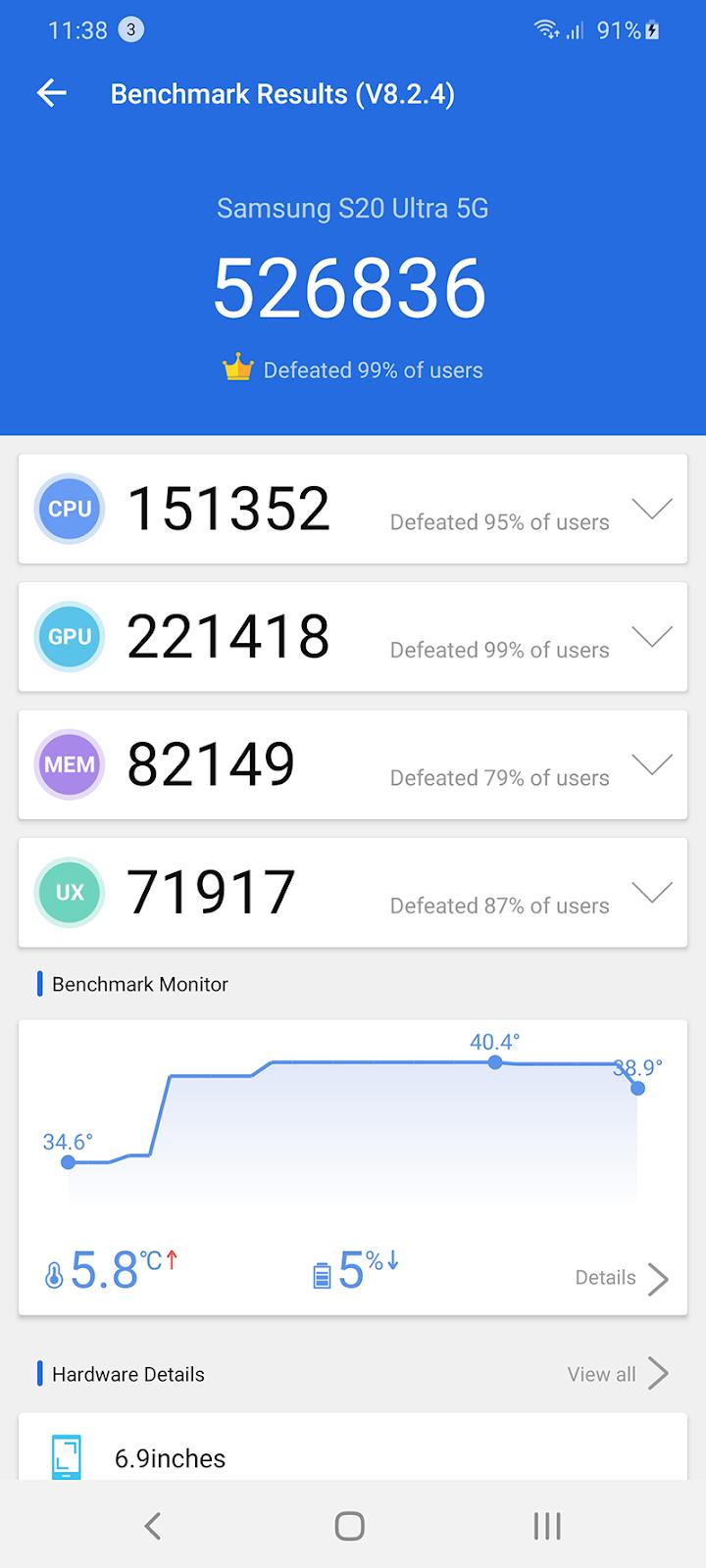 AnTuTu score of Galaxy S20 Ultra with Exynos 990 inside