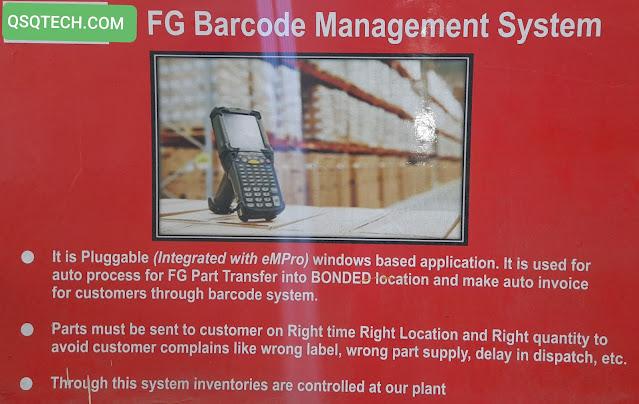 FG Barcode management system.