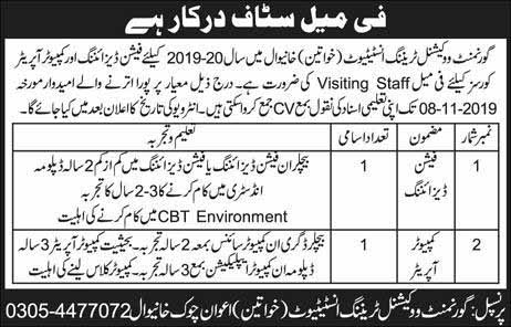 TEVTA 2019 IN Khanewal for Computer Operator , Graphic Desinger