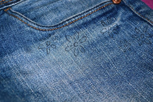 Hướng dẫn thêu hoa trên quần jean - Hình 1