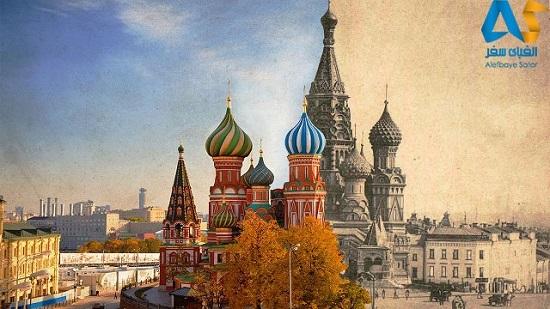 کلیسای سنت باسیل قدیمی و جدید مسکو روسیه در یک تصویر
